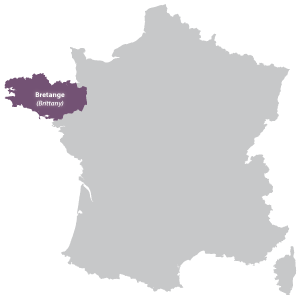 Map of Bretagne in France