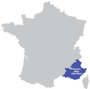 Map of Provence-Alpes-Côte d'Azur in France