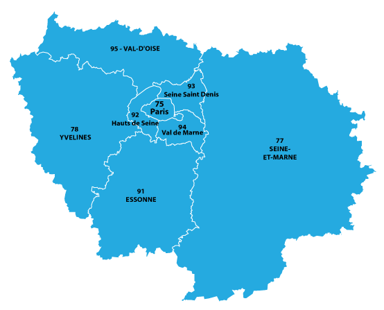 Map of Île-de-France in France