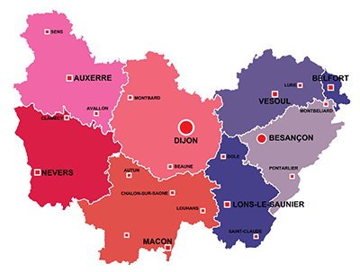 The towns in Bourgogne-Franche-Comté