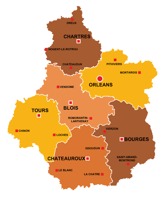 The towns in Centre-Val de Loire