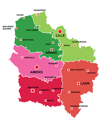 The towns in Hauts-de-France