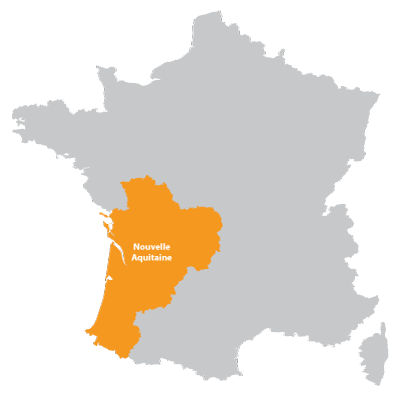A map of La Nouvelle-Aquitaine