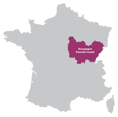 Map of Burgundy in France