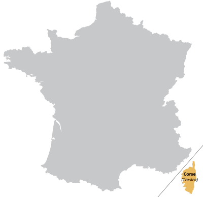 Map of Corsica in France
