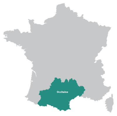 Map of Languedoc-Roussillon in France