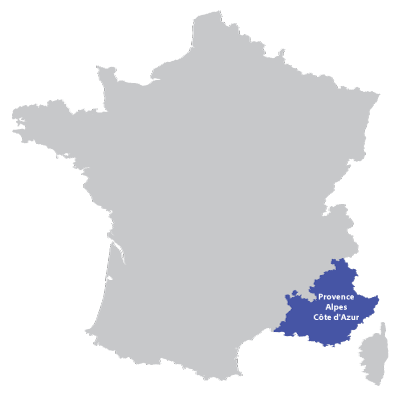 Map of Provence-Alpes-Azur in France