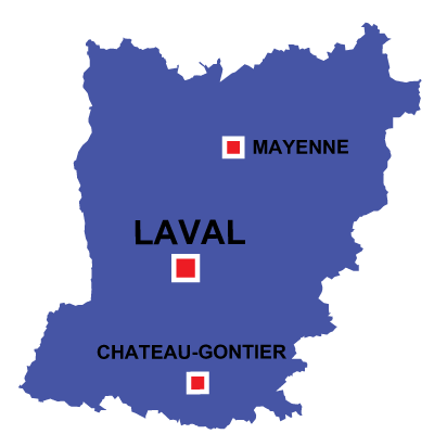Department map of Mayenne