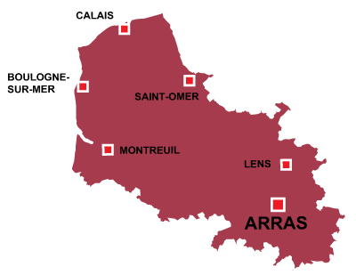 Department map of Pas de Calais